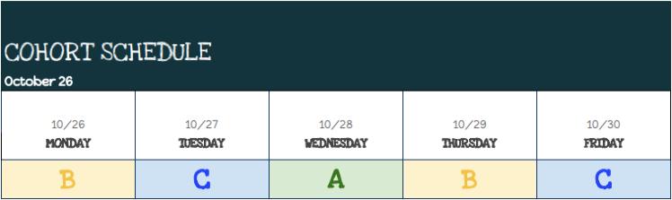 Cohort Schedule Week of 10/26/20